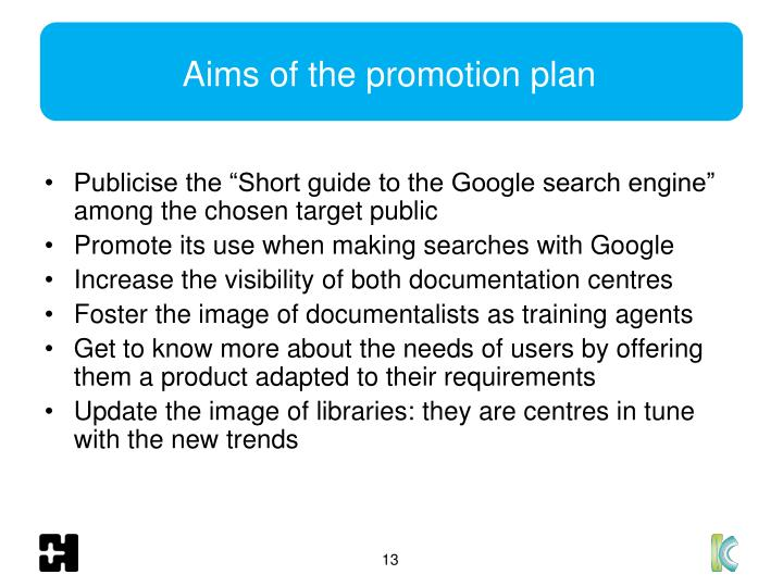Aims of the promotion plan