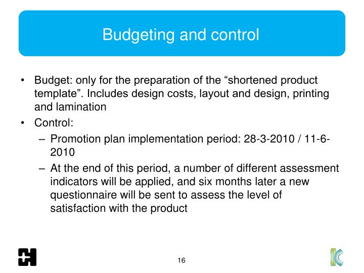 Budgeting and control