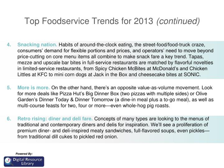 Top Foodservice Trends for 2013