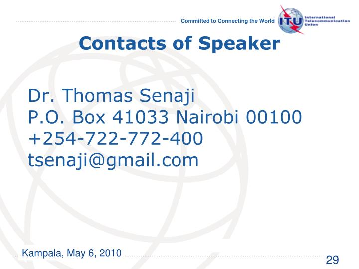 Contacts of Speaker
