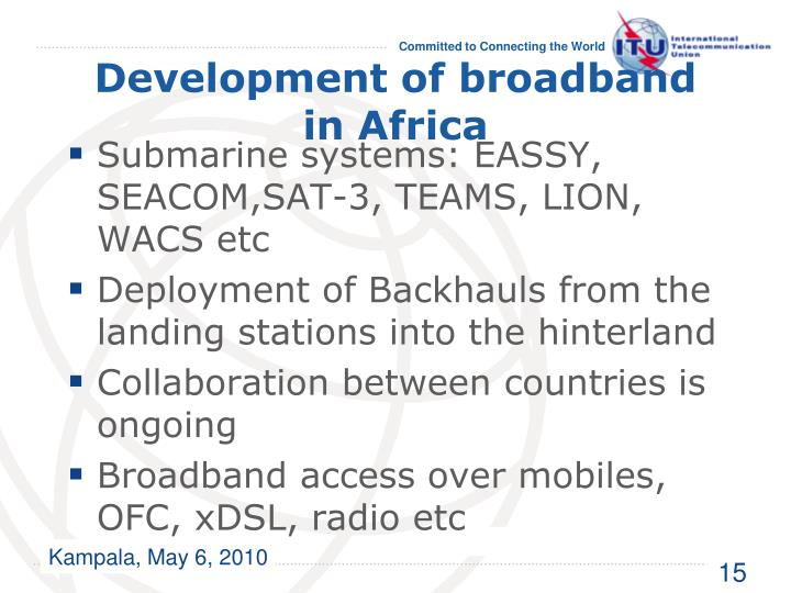 Development of broadband in Africa
