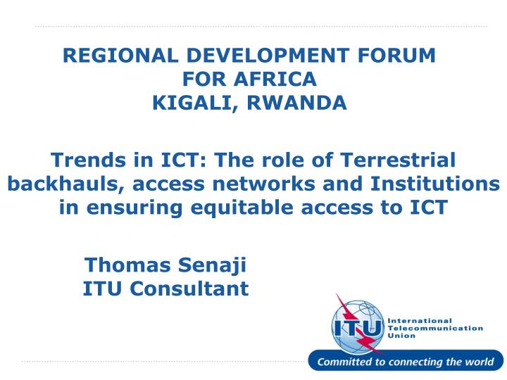 REGIONAL DEVELOPMENT FORUM FOR AFRICA