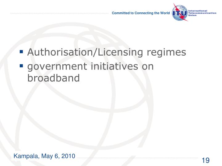 Authorisation/Licensing regimes