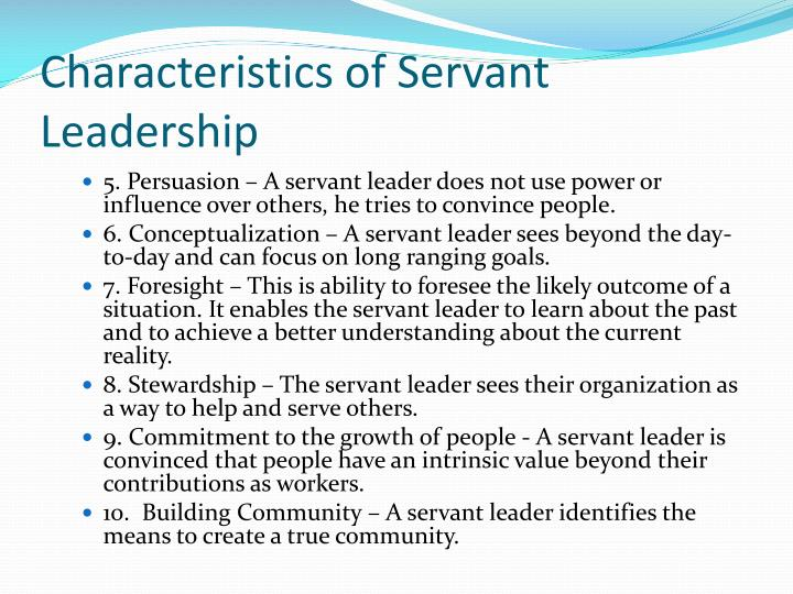 Characteristics of Servant Leadership