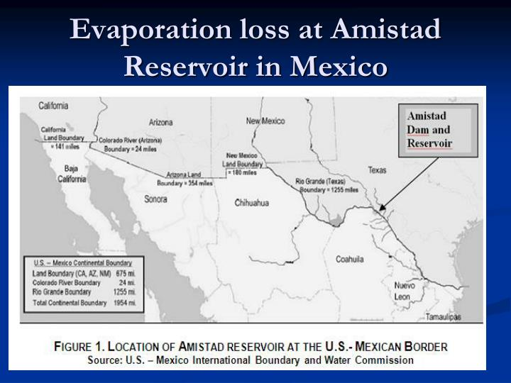 Evaporation loss at Amistad Reservoir in Mexico
