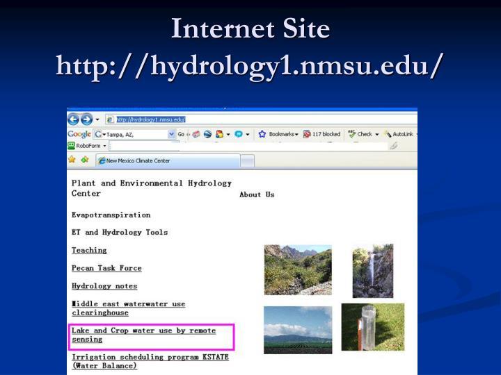 Internet Site http://hydrology1.nmsu.edu/