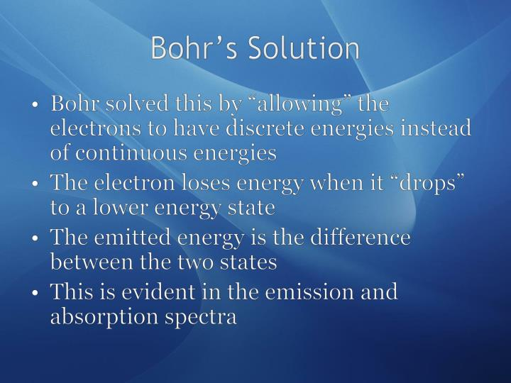 Bohr's Solution
