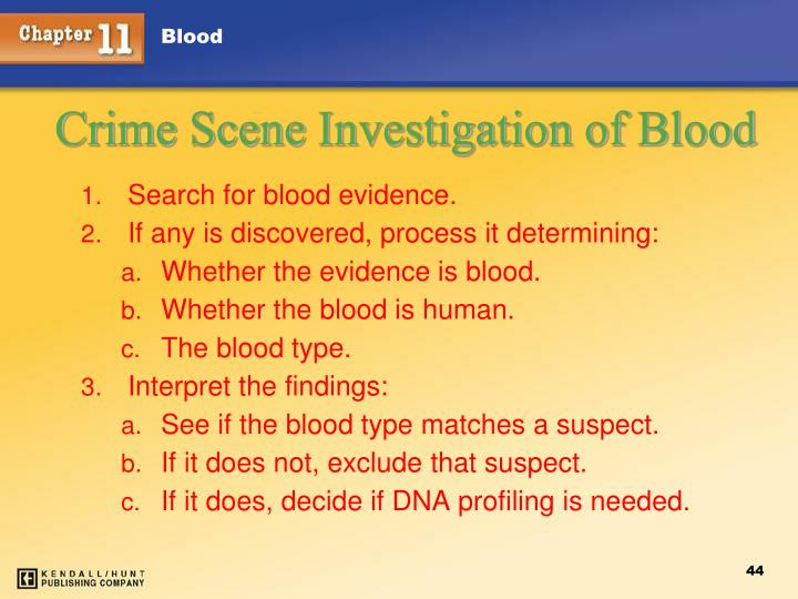 Search for blood evidence.