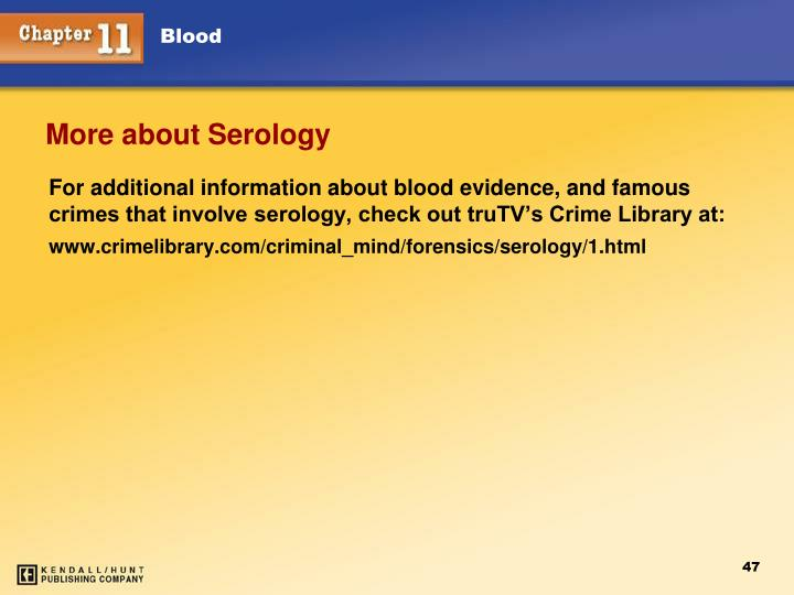 More about Serology
