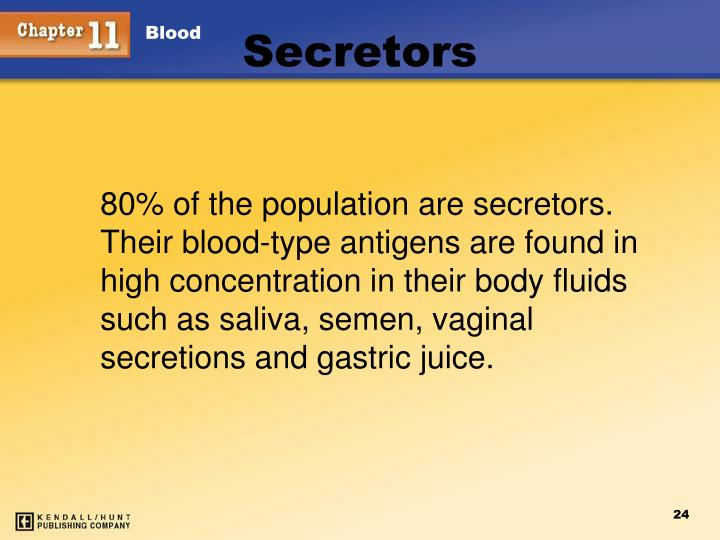 80% of the population are secretors.  Their blood-type antigens are found in high concentration in their body fluids such as saliva, semen, vaginal secretions and gastric juice.