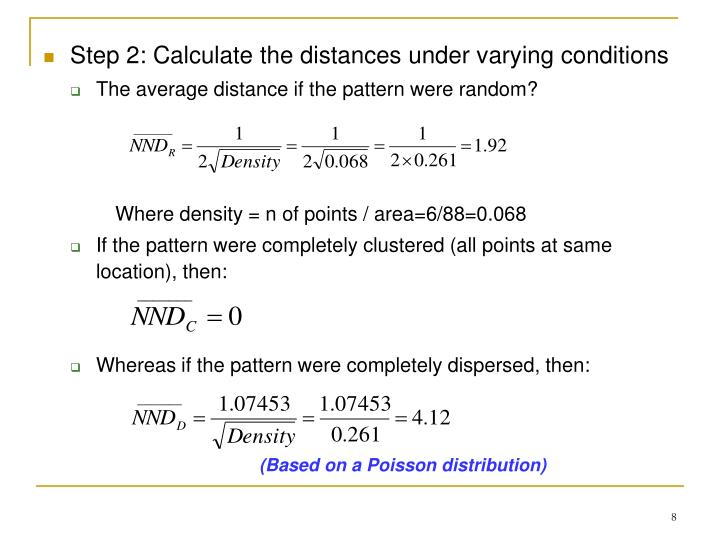 Step 2: Calculate the distances under varying conditions