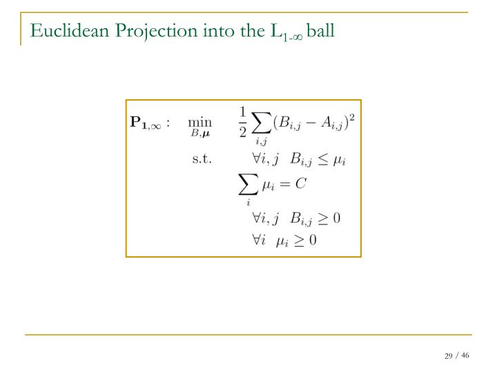 Euclidean Projection into the L