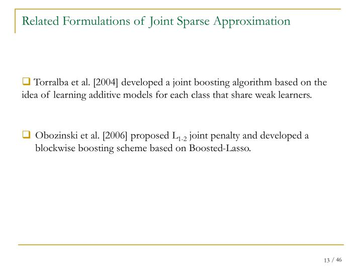 Related Formulations of Joint Sparse Approximation