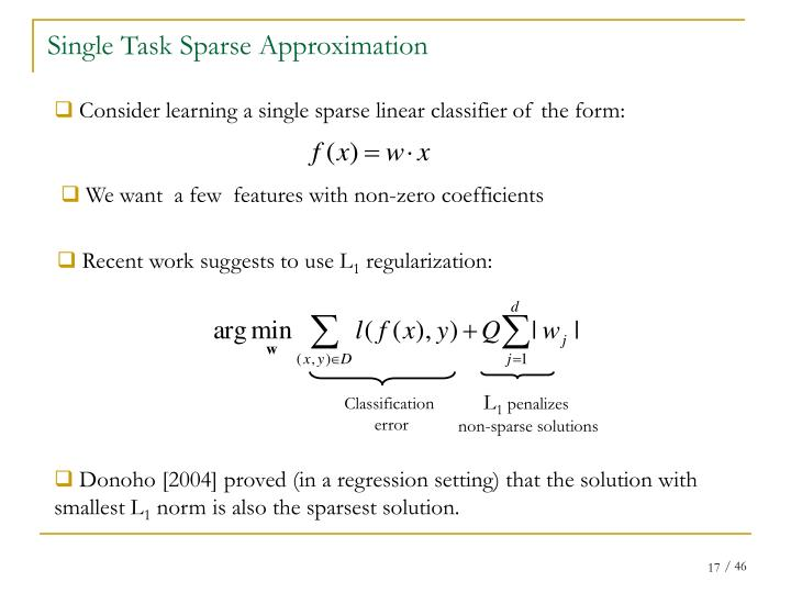 Single Task Sparse Approximation