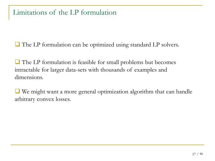 Limitations of the LP formulation