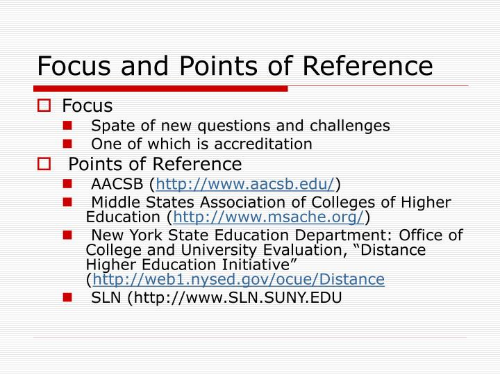 Focus and Points of Reference