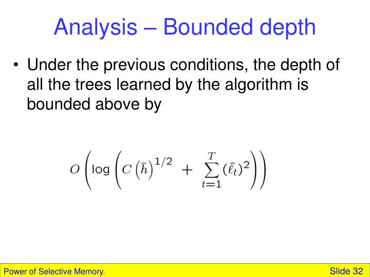 Analysis – Bounded depth