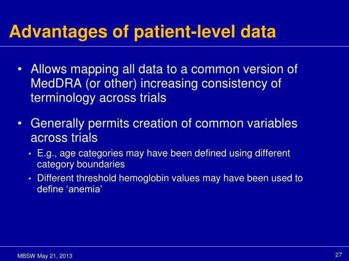 Advantages of patient-level data