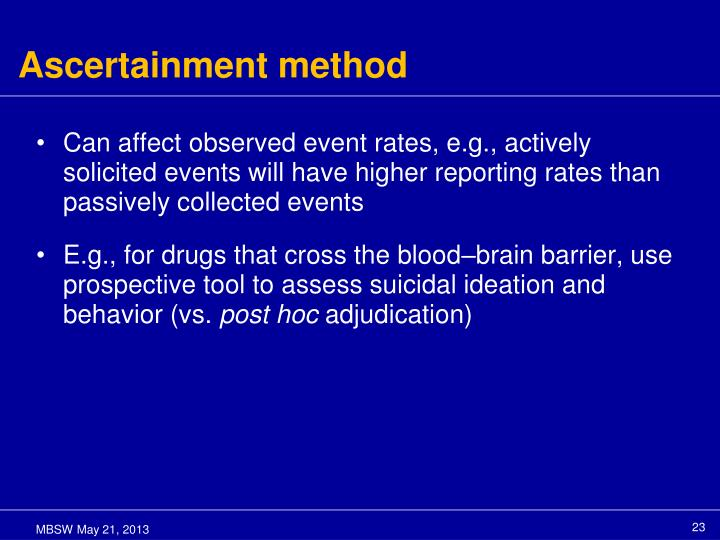 Ascertainment method