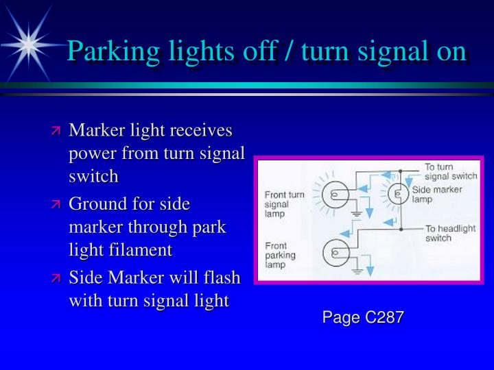 Parking lights off / turn signal on