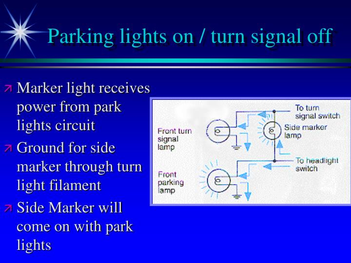 Parking lights on / turn signal off