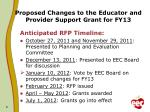 proposed changes to the educator and provider support grant for fy13