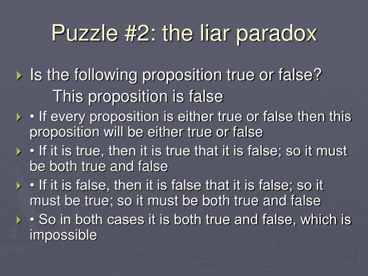 Puzzle #2: the liar paradox