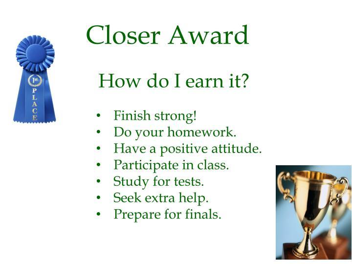 Closer Award