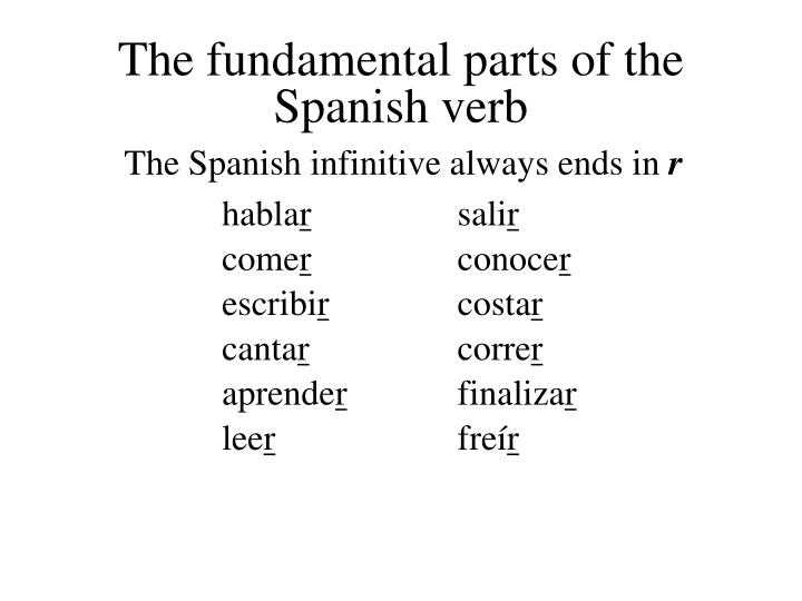 The fundamental parts of the spanish verb1