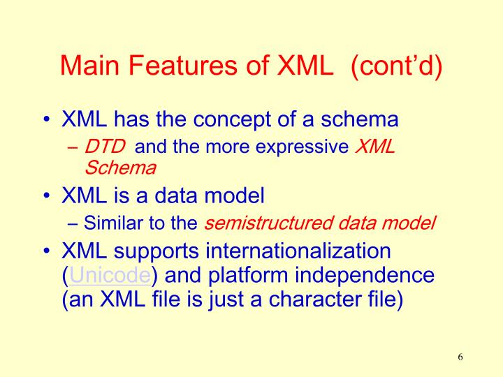 Main Features of XML