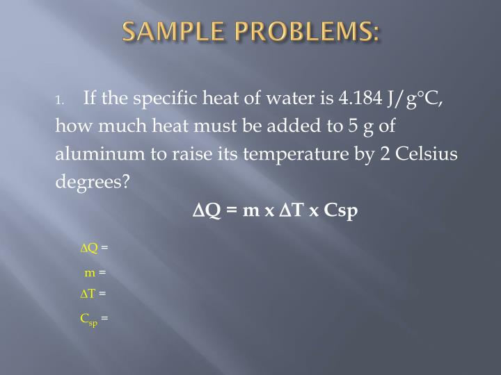SAMPLE PROBLEMS: