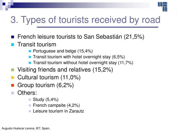 3. Types of tourists received by road