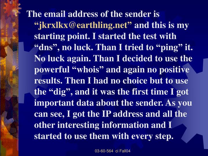 The email address of the sender is