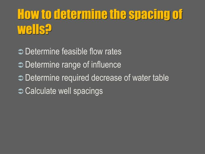 How to determine the spacing of wells?