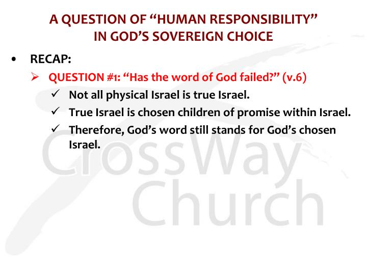 """A QUESTION OF """"HUMAN RESPONSIBILITY"""""""