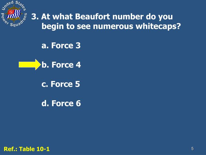 3. At what Beaufort number do you begin to see numerous whitecaps?