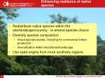 enhancing resilience of native species