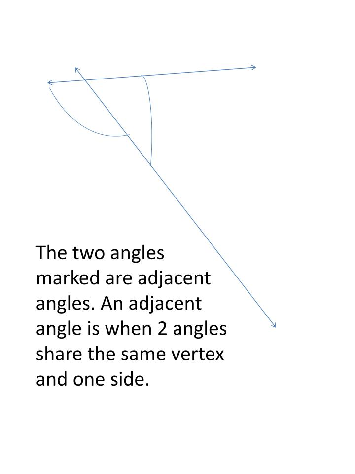 The two angles marked are adjacent angles. An adjacent angle is when 2 angles share the same vertex and one side.