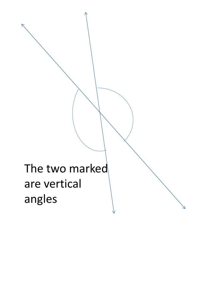 The two marked are vertical angles