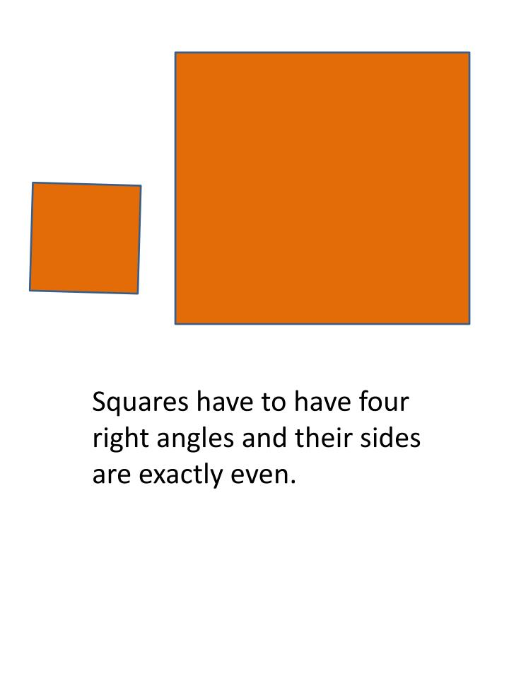 Squares have to have four right angles and their sides are exactly even.