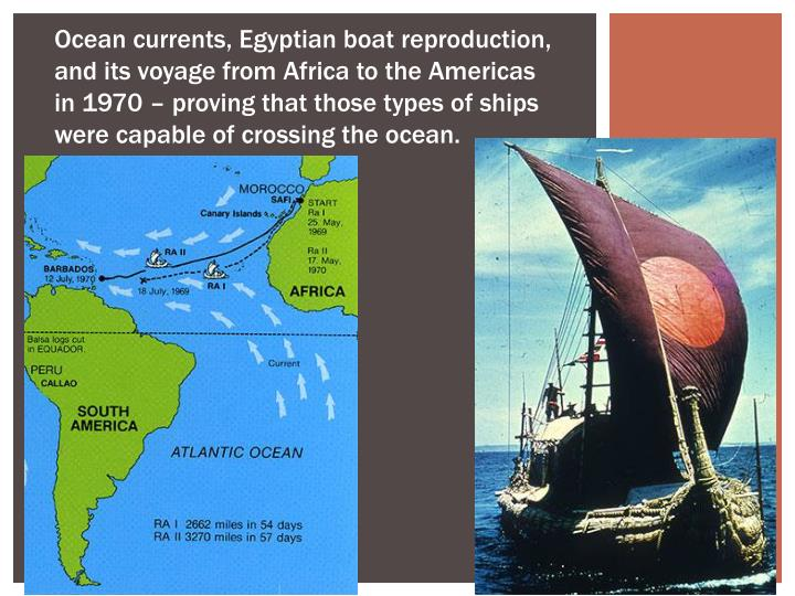 Ocean currents, Egyptian boat reproduction, and its voyage from Africa to the Americas in 1970 – proving that those types of ships were capable of crossing the ocean.