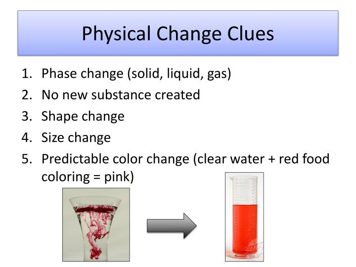 Physical Change Clues