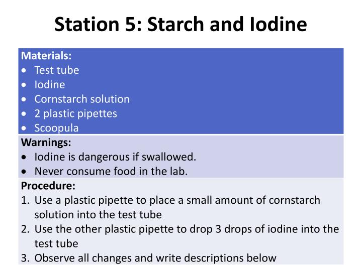 Station 5: Starch and Iodine