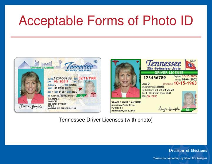 Acceptable Forms of Photo ID