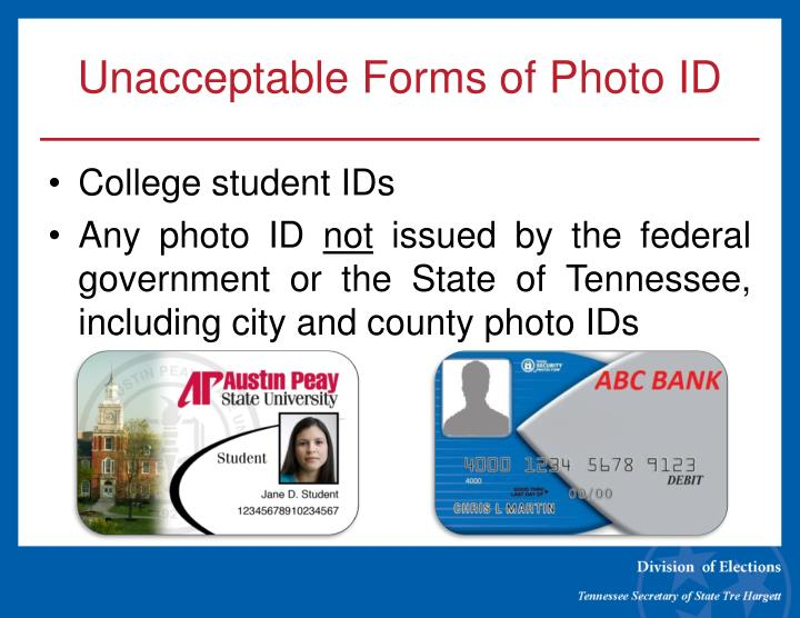 Unacceptable Forms of Photo ID