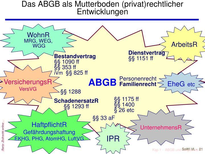 Das ABGB als Mutterboden (privat)rechtlicher Entwicklungen