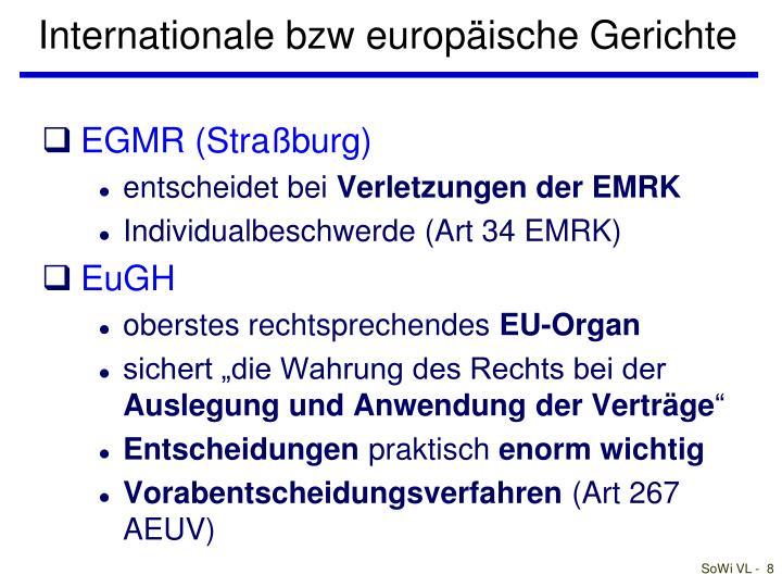 Internationale bzw europäische Gerichte