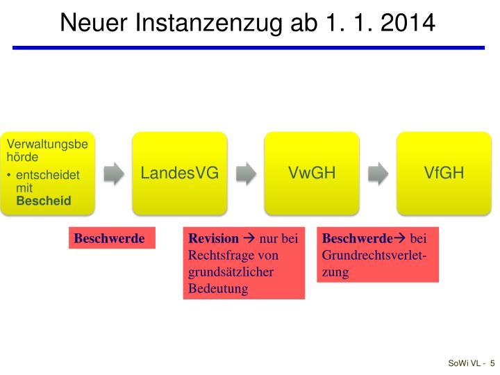 Neuer Instanzenzug ab 1. 1. 2014