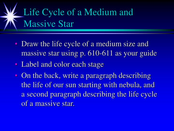 Life cycle of a medium and massive star