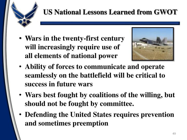 US National Lessons Learned from GWOT